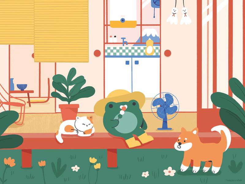 Summer day character garden dog house shiba summer cat frog japanese culture japanese food japanese japan