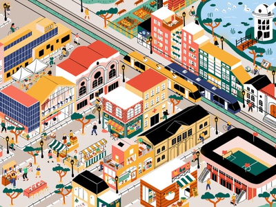 Animaville characters food lake buildings perspective map city illustration city