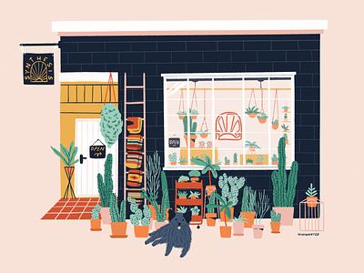 The plant shop plant illustration plant shop dog cactus shopfront facade shop plants