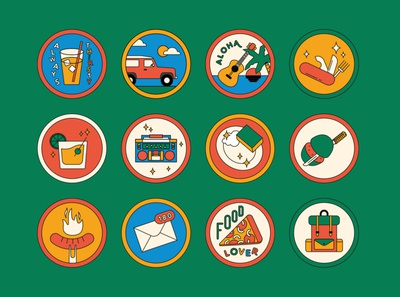 Vacation badges drink music barbecue sausage food pizza adventure backpack guitar car pins badges