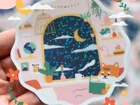 Good night Shiba-chan glittery glitter cute character bedroom shiba inu sticker shiba
