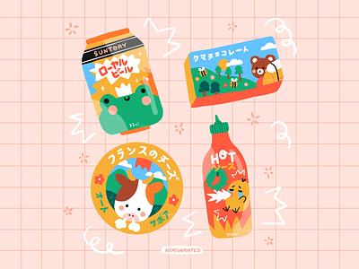 Japanese packagings bear japanese japan bird hot sauce cow cheese beer can frog chocolate packagings