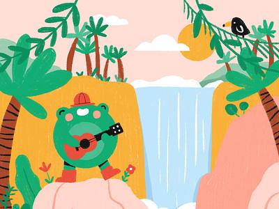 Singing in the jungle landscape nature toucan palmtree guitar ukulele frog waterfall jungle