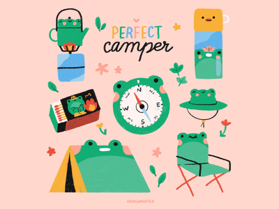 Perfect camper nature matches bottle water bottle tea pot tent chair hat camping camp compass frog