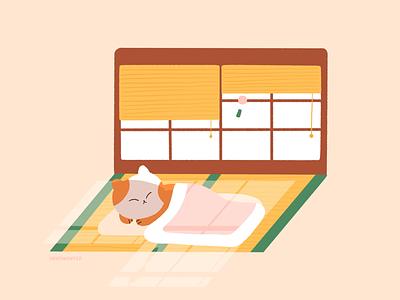 Morning window sleep futon tatami japan cat