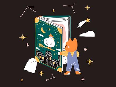 Halloween book witch cat duck ghost halloween book