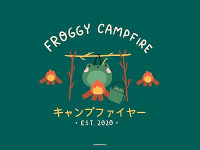 Froggy campfire japanese japan logotype logo camp campfire frog