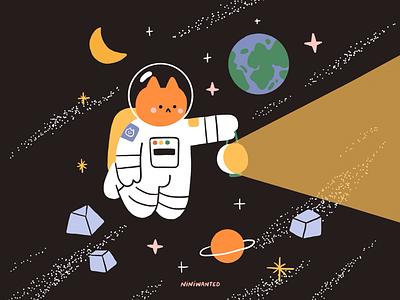 Explorer astronaut planet galaxy universe space cat explorer