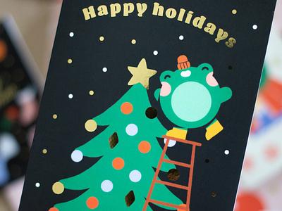 Christmas Tree gold foil gold frog christmas tree christmas card christmas holidays greeting card