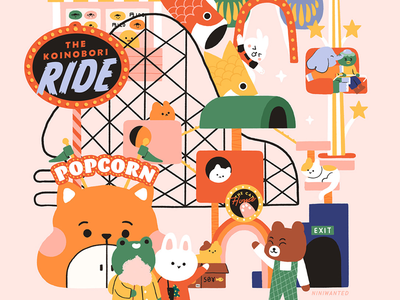 Joy Land characters cat rabbit frog bear ride japan animals amusement park fair