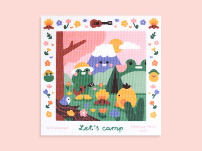 Let's camp tent campfire camping camp frog needlepoint canvas