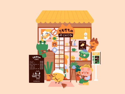 Café of friends characters storefront japan coffee coffee shop café cafe