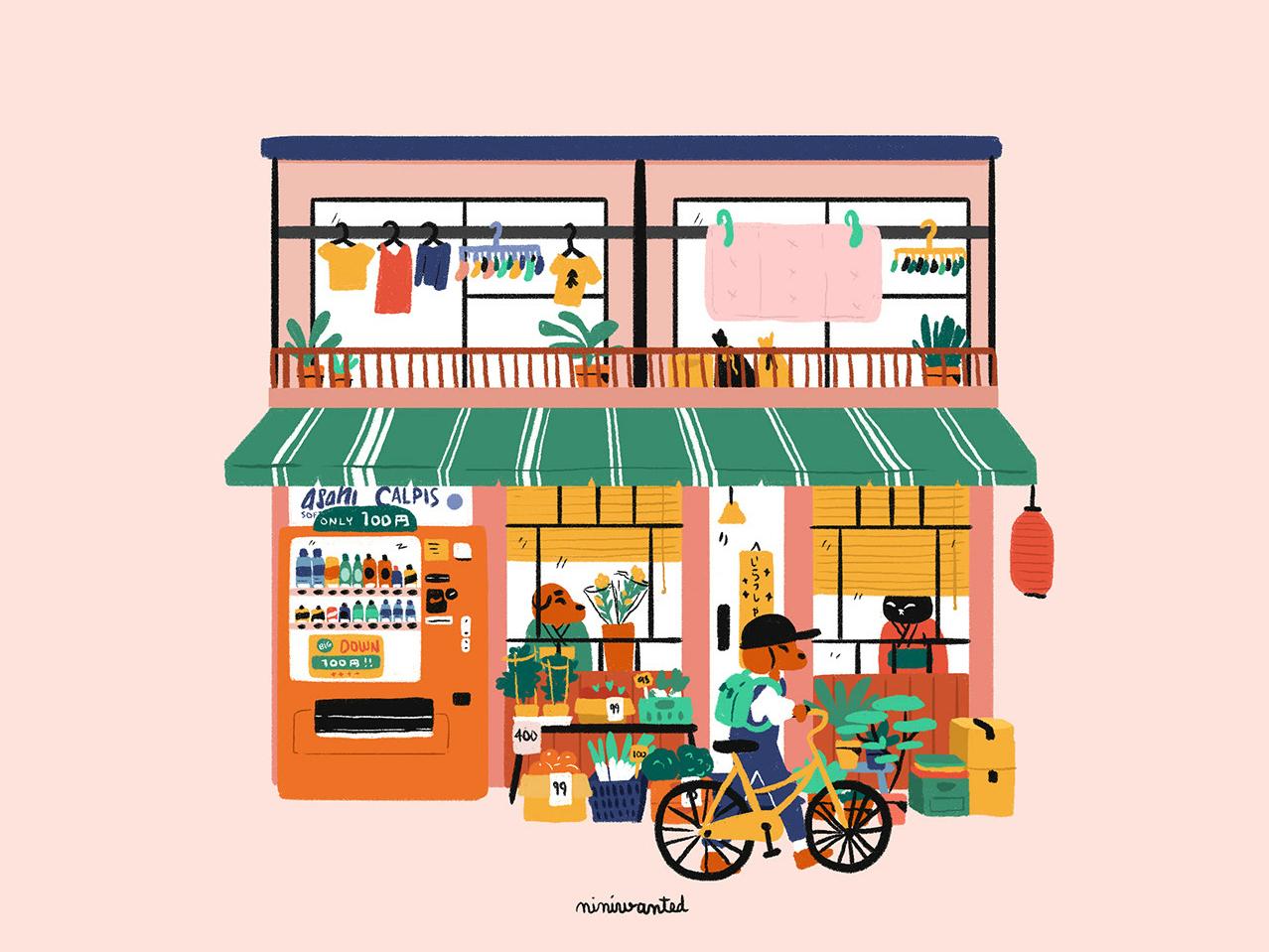 Japanese Neighborhood characters bike vending machine japanese house house japanese facade japan
