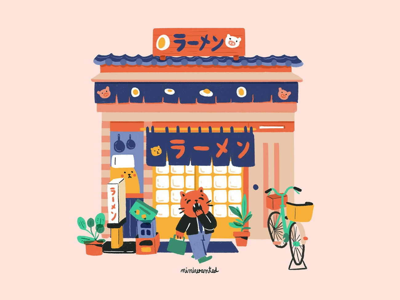 Ramen Shop facade ramen cute bike soup japanese food character characters cat illustration building cat japan