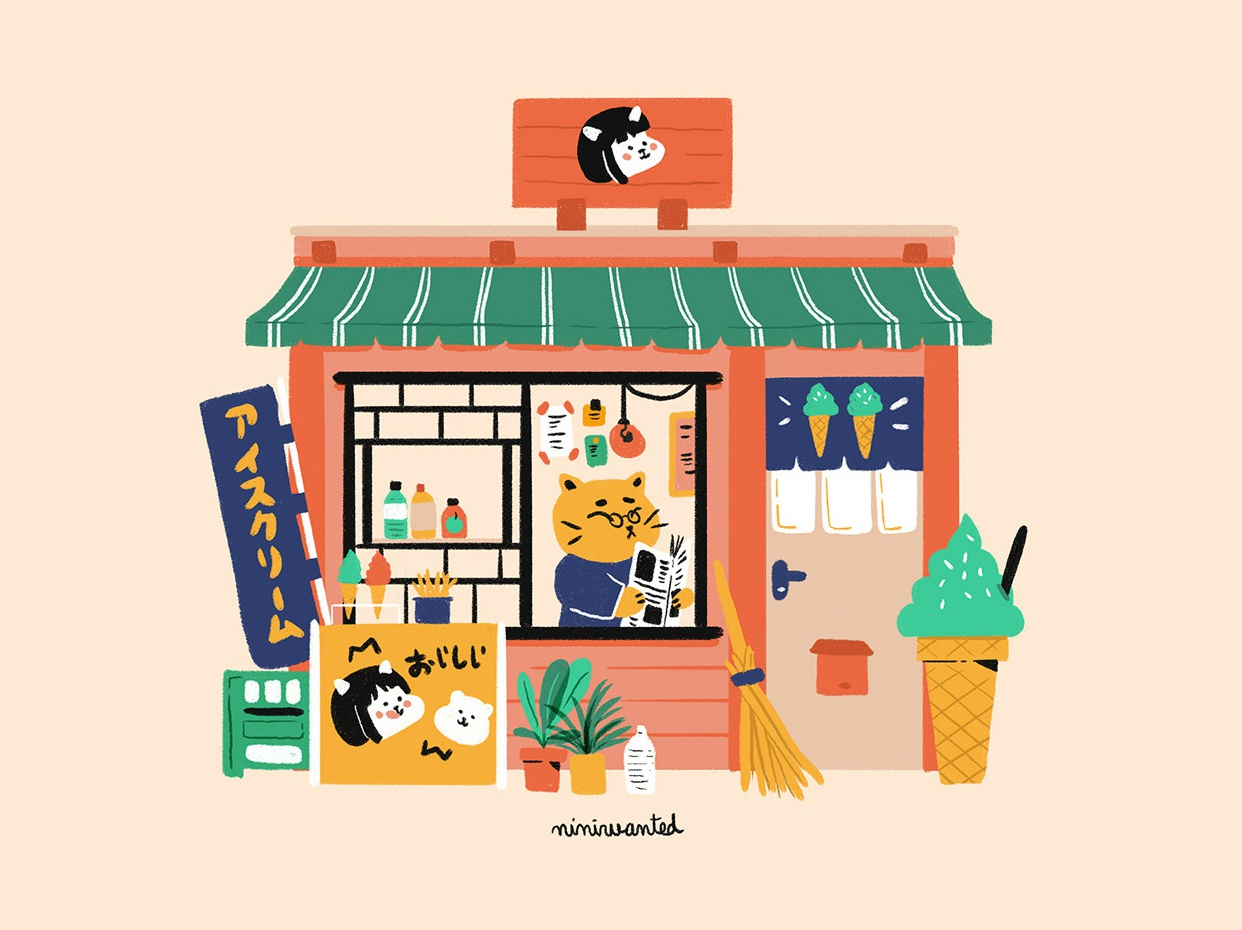 Ice Cream Shop food facade shop ice cream icecream shop character cute illustration japanese characters cat illustration cat facade japan