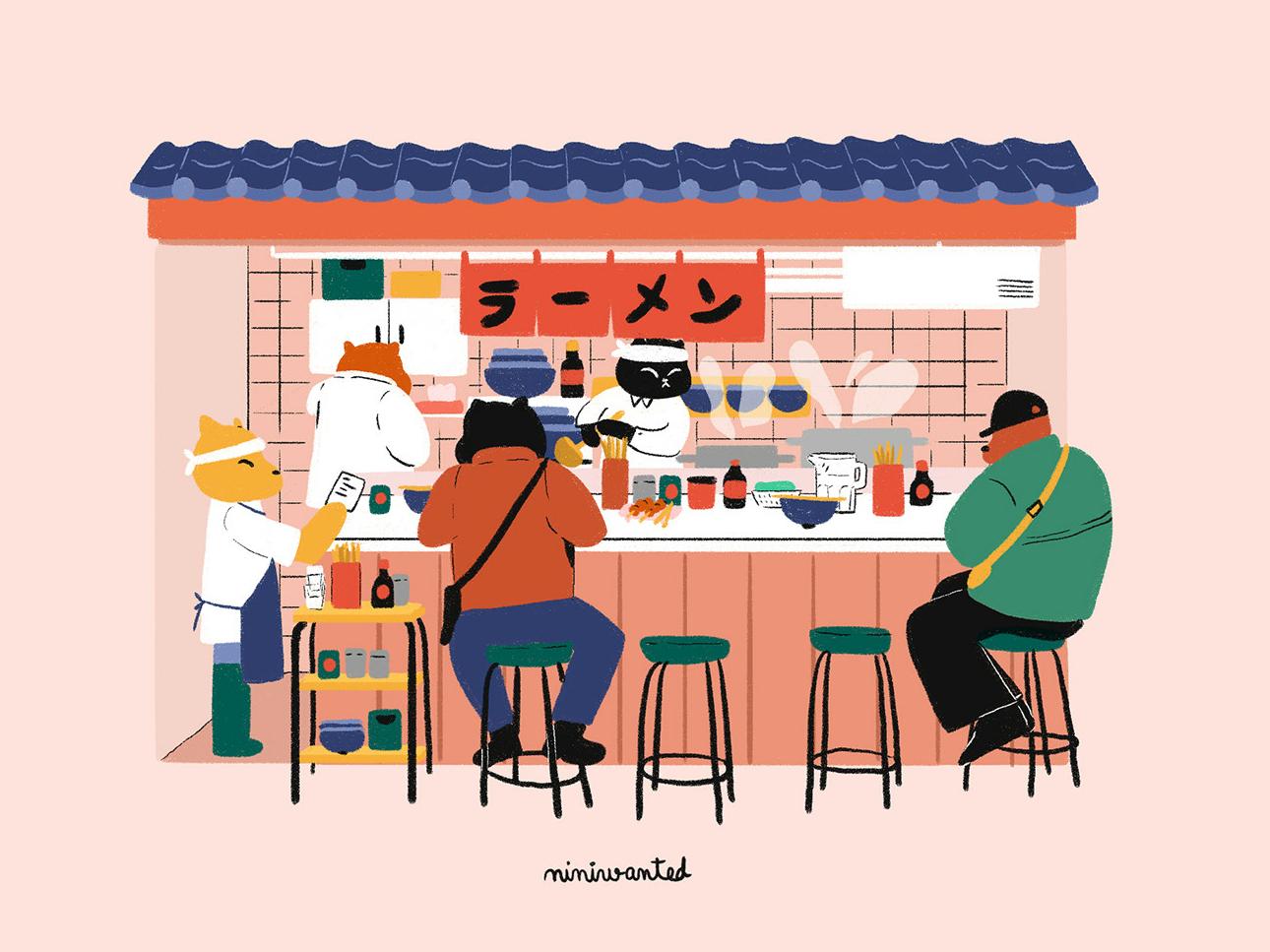 Ramen Stand cute character izakaya eat ramen facade shop illustration food japanese facade cat illustration cat japan