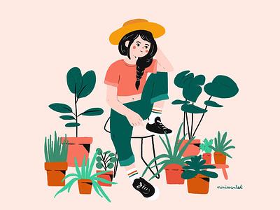 Plants Lover botanical green plant illustration character botanic plants plant