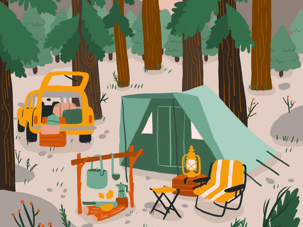 Happy Camper forest tree camp fire car tent camping nature camper camp
