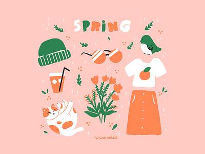 Spring botanic flowers cat clothes bird spring