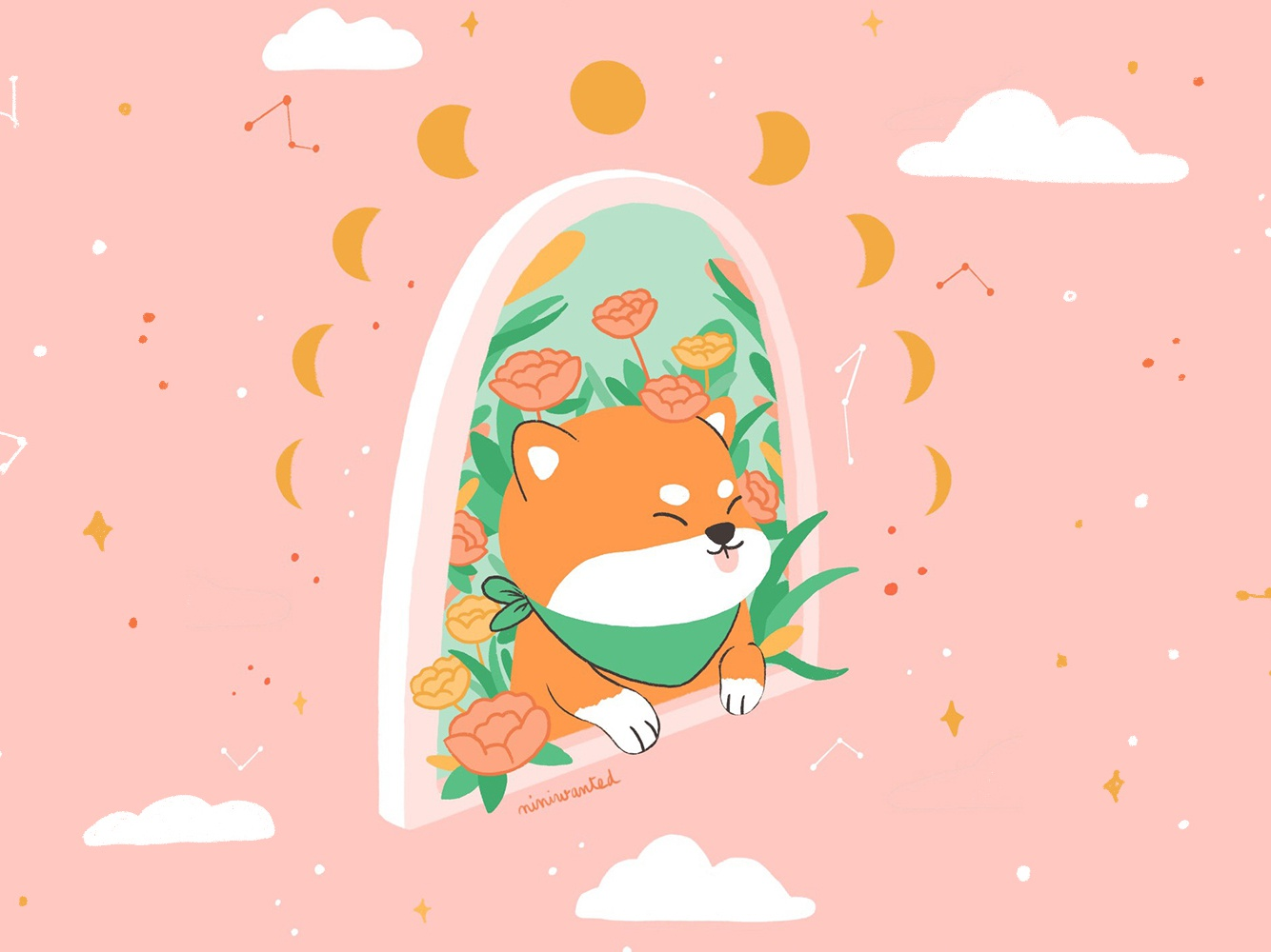 Dreamer Shiba shibainu window plants rose roses flowers dog shiba