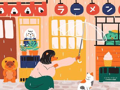 Rainy season in Japan rain food facade onigiri ramen kappa tanuki cat japanese food