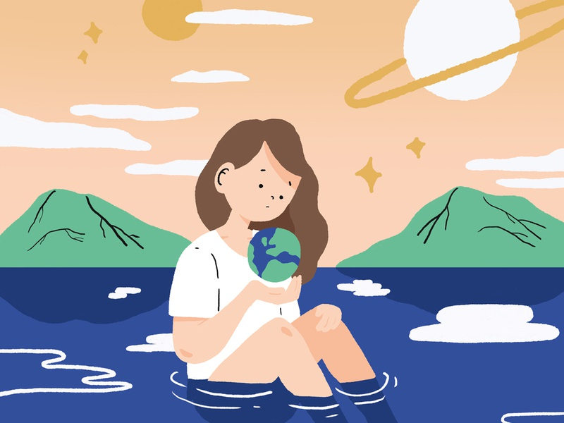 Protect earth nature ocean girl character planet earth