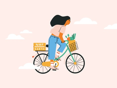 Shopping with your bicycle ecology bicycles woman character veggies shopping vegetables bike bicycle