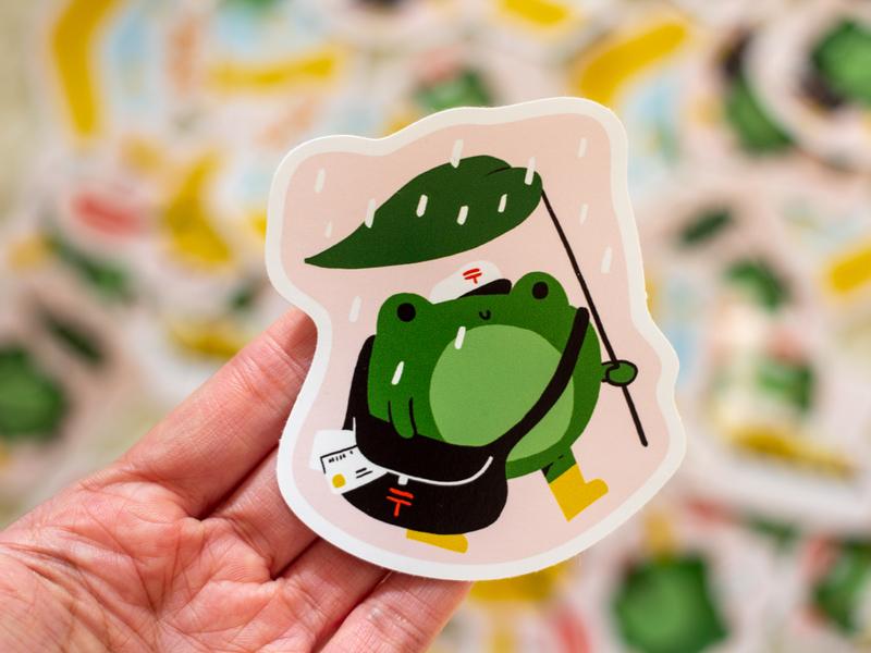 The frog postman japan letter postal post sticker merch animal frog