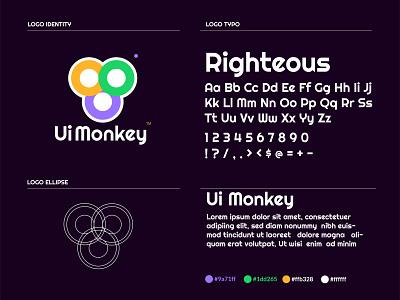 UI MONKEY APP LOGO alphabet logo brand animal animation abstract colorful circle logo monkey logo monkey typography logo 3d design company logo logo design business logo branding vector app logo logo