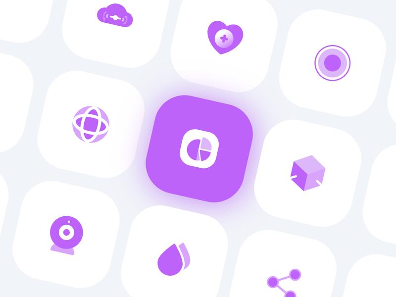 Purple Icon Set cloud waterdrop drop globe cicle health heart vector flat logo app ux ui branding share purple icon flat icon app icon icon app logo