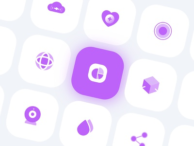 Purple Icon Set cloud waterdrop drop globe cicle health heart vector flat logo app ux ui branding share purple icon flat icon app icon icon app logo