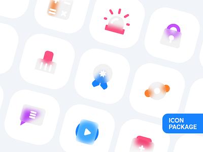 Icon package v 2.0 lock icon play icon white blur icon ui design branding abstract app app logo identity vector iconography illustrator icon design icons ios icon set app icon icon