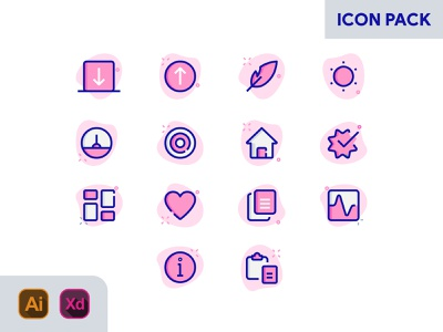 PINK & BLUE ICON PACK arrow icon target icon home icon leaf icon info icon vector branding identity app icon icon xd icon xd blue icon pink icon icon vector icons icon design iconography icon set icon