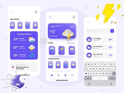 🌦️Wiindy - Weather Apps UI Kit potential weather temperature wind rain uiuxdesigner typography minimal vector ios app app ui app wiindy weather weather app ui design illustration uidesign uiux ux ui