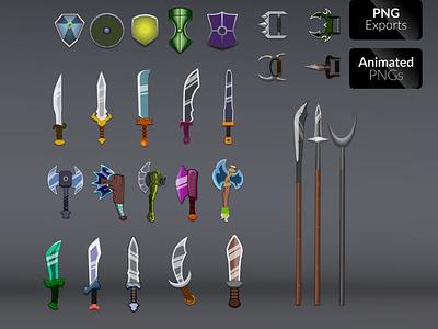 WEAPON_ VOL.01 dagger spears shields weapons illustration game asset adventure fantasy