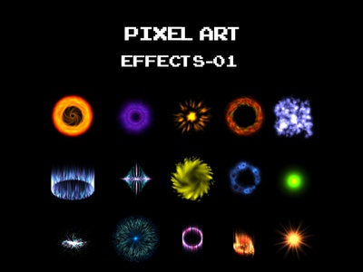 PIXEL ART EFFECTS-01 games fx animated sprite sheet game effects pixel art