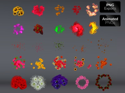 Flower FX sunflower sprite sheet spot light sci fi rpg rose red petals particles effects magic leaves hits game effects fx flower fantasy effects blood blast adventure