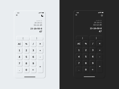 Basic soft UI (Neumorphism) for calculator soft ui trend application adobexd designs creative web illustration flat app ui design