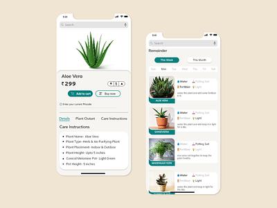Plant details and reminder UI branding flat ux web ui trend design creative application adobexd