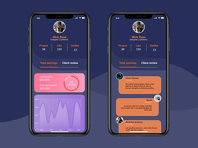 User profile UI profile colour app ux ui web design creative application adobexd