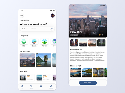 Travel App UI colour ui ux app trend design application adobexd travel travel app