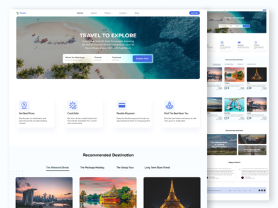 Travel Website Design web website design explore travel web trend colour ux creative ui design adobexd webtemplate travel