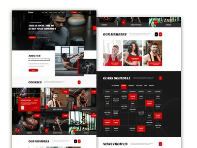 PSD Gym or fitness template design for Themeforest workout website design ux design ui design training timetable themeforest sports template sport personal trainer martial arts gym fitness