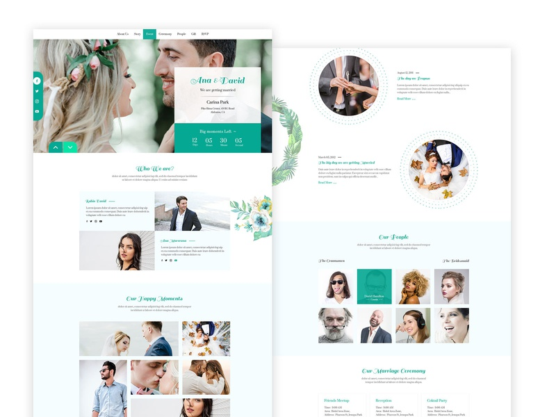 Free Weeding PSD Template for Download themeforest ux professional design free web weeding ui  ux uidesign templatedesign template website ui website design freebies freebie