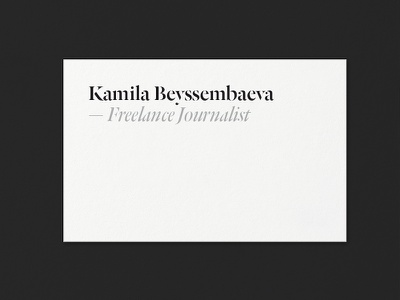 Kamila Beyssembaeva ID — WIP typography identity