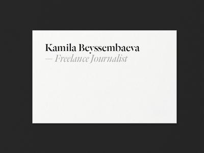 Kamila Beyssembaeva ID — WIP