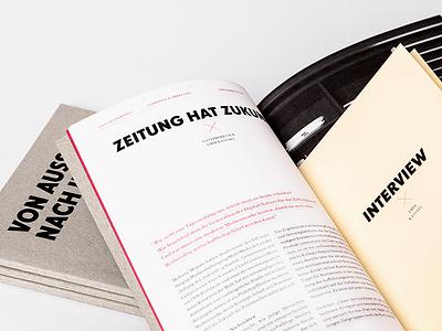 Von Aussen Nach Innen black foil greyboard type editorial print