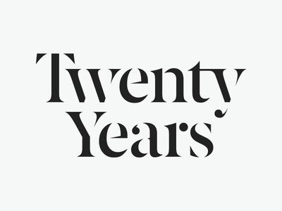 Twenty Years serif stencil masthead typography