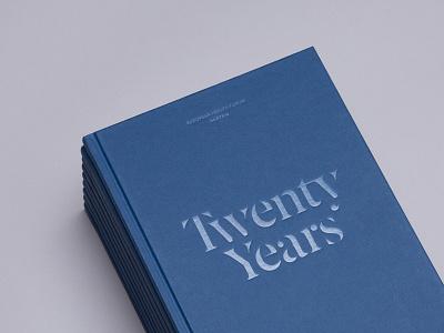 Twenty Years minimal stencil serif blue print type