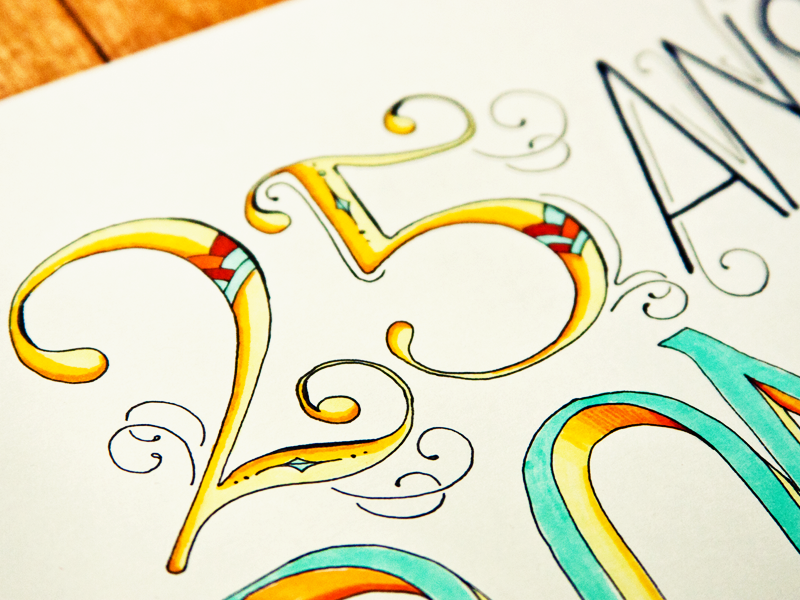 25 Years Old Birthday Card Lettering
